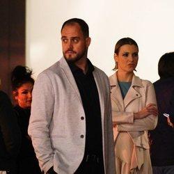 María Jesús Ruiz y su novio Curro en visitando una bodega de Málaga
