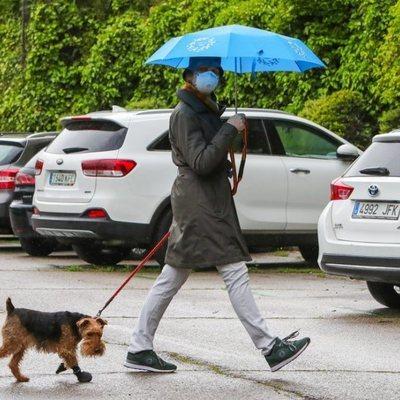 La Infanta Elena paseando a su perro con mascarilla