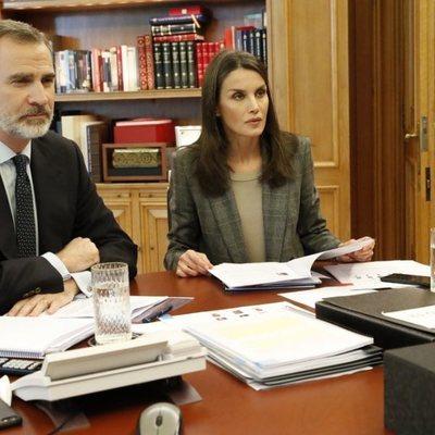 Los Reyes Felipe y Letizia en una videoconferencia con científicos