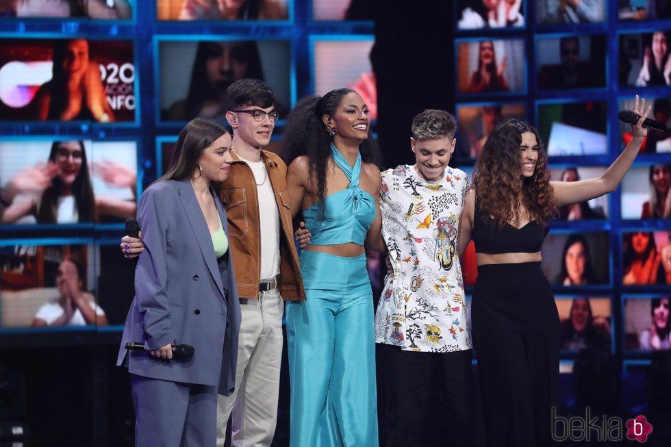 Eva, Flavio, Nía, Hugo y Anaju, finalista de 'OT 2020', en la gran final