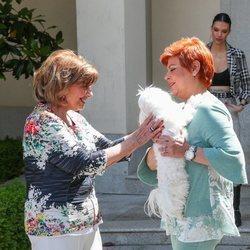 María Teresa Campos juega con el perrito de Terelu Campos