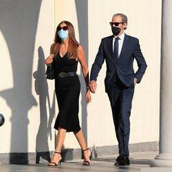 Javier García Obregón y María Tevenet en el funeral de Álex Lequio Obregón en Madrid