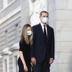 El Rey Felipe y la Princesa Leonor en el funeral por las víctimas del coronavirus