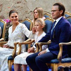 Victoria y Daniel de Suecia con Estela en el concierto solidario por su 43 cumpleaños