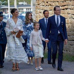 Victoria, Daniel y Estela de Suecia con Carlos Felipe y Sofía de Suecia en el 43 cumpleaños de la Princesa