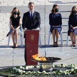 El Rey Felipe VI lee su discurso ante la Reina Letizia, Leonor y Sofía en el homenaje de Estado