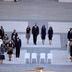 Plano aéreo del homenaje de Estado de las víctimas del coronavirus con los Reyes presidiendo