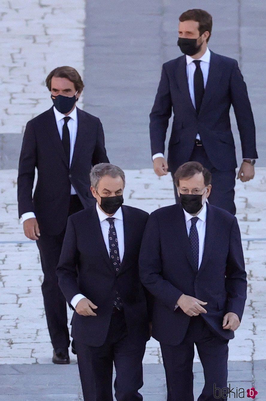 Aznar, Zapatero, Pablo Casado y Mariano Rajoy en el homenaje de Estado por las víctimas del coronavirus
