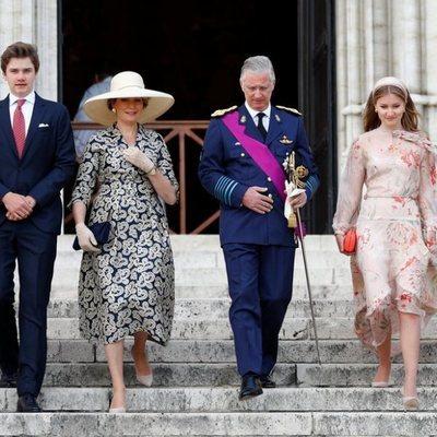 Los Reyes Felipe y Matilde de Bélgica con sus hijos el Día Nacional de Bélgica 2020