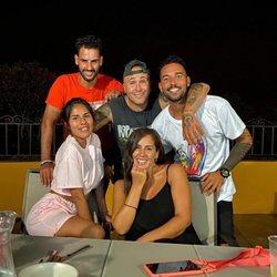 Asraf Beno, Chabelita Pantoja, Kiko Rivera, Anabel Pantoja y Omar Sánchez juntos en Cantora con motivo del 64 cumpleños de Isabel Pantoja