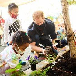 El Príncipe Harry plantando flores en Preschool Learning Center de Los Angeles