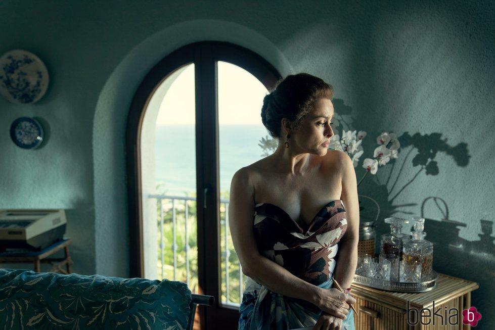 Helena Bonham Carter como la Princesa Margarita en la cuarta temporada de 'The Crown'