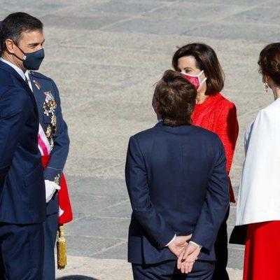 Pedro Sánchez, Margarita Robles, Isabel Díaz Ayuso y José Luis Martínez-Almeida en el Día de la Hispanidad 2020