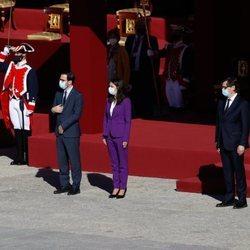 Manuel Castells, Alberto Garzón, Irene Montero, Salvador Illa y José Manuel Rodríguez Uribes en el Día de la Hispanidad 2020