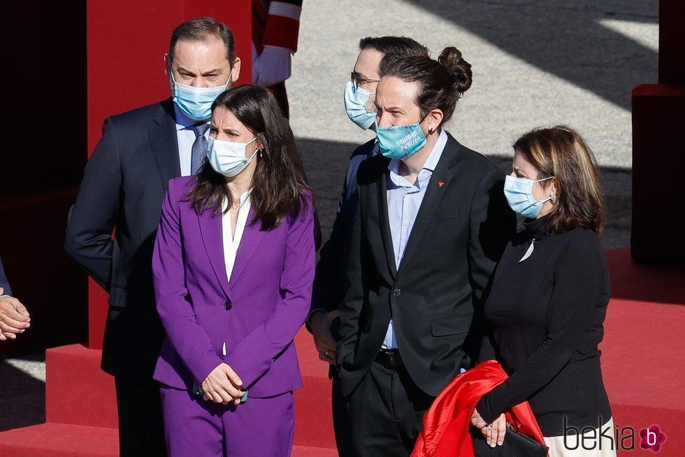 José Luis Ábalos, Alberto Garzón, Adriana Lastra, Pablo Iglesias e Irene Montero en el Día de la Hispanidad 2020
