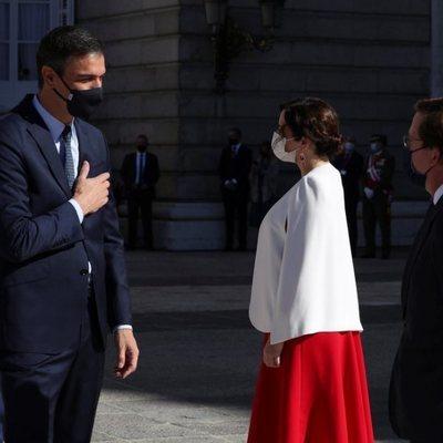 Pedro Sánchez, Isabel Díaz Ayuso y José Luis Martínez-Almeida en el Día de la Hispanidad 2020