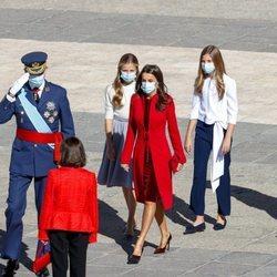 Los Reyes Felipe y Letizia, la Princesa Leonor y la Infanta Sofía y Pedro Sánchez en el Día de la Hispanidad 2020