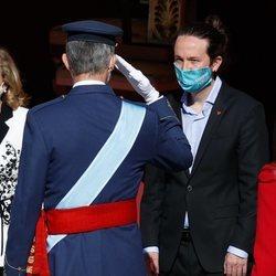 El Rey Felipe y Pablo Iglesias en el Día de la Hispanidad 2020