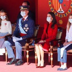 Los Reyes Felipe y Letizia, la Princesa Leonor y la Infanta Sofía en el acto del Día de la Hispanidad 2020