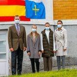 Los Reyes Felipe y Letizia, la Princesa Leonor y la Infanta Sofía en la Casa Amarilla de Somao, Pueblo Ejemplar de Asturias 2020