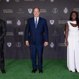 Alberto de Mónaco, Louis Ducruet y Clarisse Agbegnenou en la Sportel Awards Gala