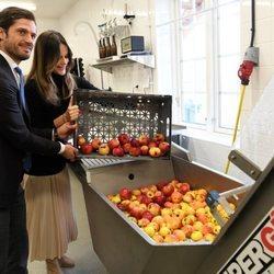 Carlos Felipe y Sofia de Suecia hacen zumo de manzana en su visita a Värmland