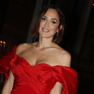 Tamara Falcó llegando a un rodaje en el hotel Four Seasons de Madrid