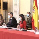 Los Reyes Felipe y Letizia, la Princesa Leonor y la Infanta Sofía durante la reunión del Patronato de la Fundación Princesa de Girona