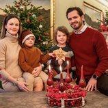 Carlos Felipe y Sofia de Suecia con sus hijos Alejandro y Gabriel en la celebración de Santa Lucía 2020