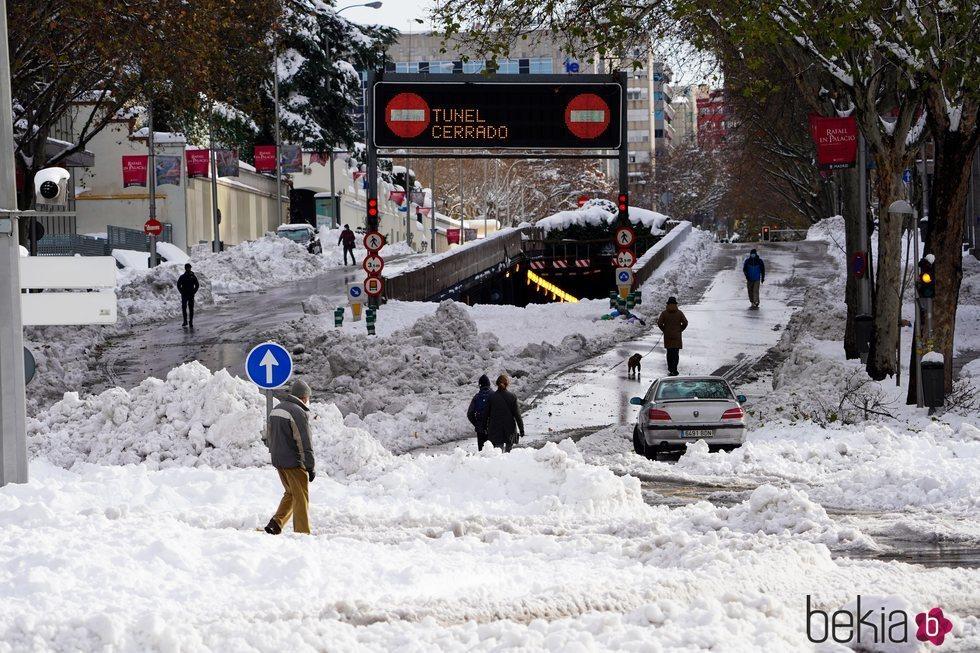 Los efectos de la gran nevada de Madrid de 2021 en las calles provocada por Filomena