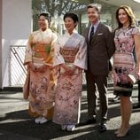 Tsuguko Takamado e Hisako Takamado de Japón con Federico y Mary de Dinamarca