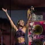 Miley Cyrus en su actuación durante la Super Bowl 2021