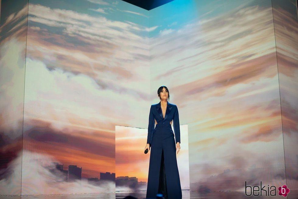 Aitana Ocaña durante su actuación en la gala de los Goya 2021