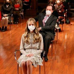 La Princesa Leonor en un momento de su primer acto oficial en solitario en la sede del Cervantes