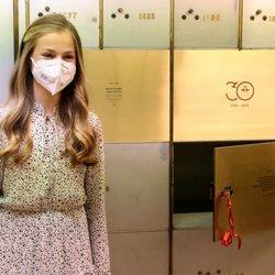 La Princesa Leonor en la Caja de las Letras del Instituto Cervantes en su primer acto oficial en solitario