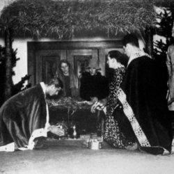 El Duque de Edimburgo en una obra de teatro en Gordonstoun en su juventud