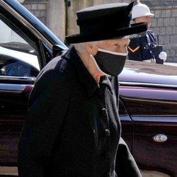La Reina Isabel en el funeral del Duque de Edimburgo