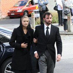 Guillermo de Luxemburgo y Stéphanie de Lannoy en el funeral de Alix della Faille de Leverghem