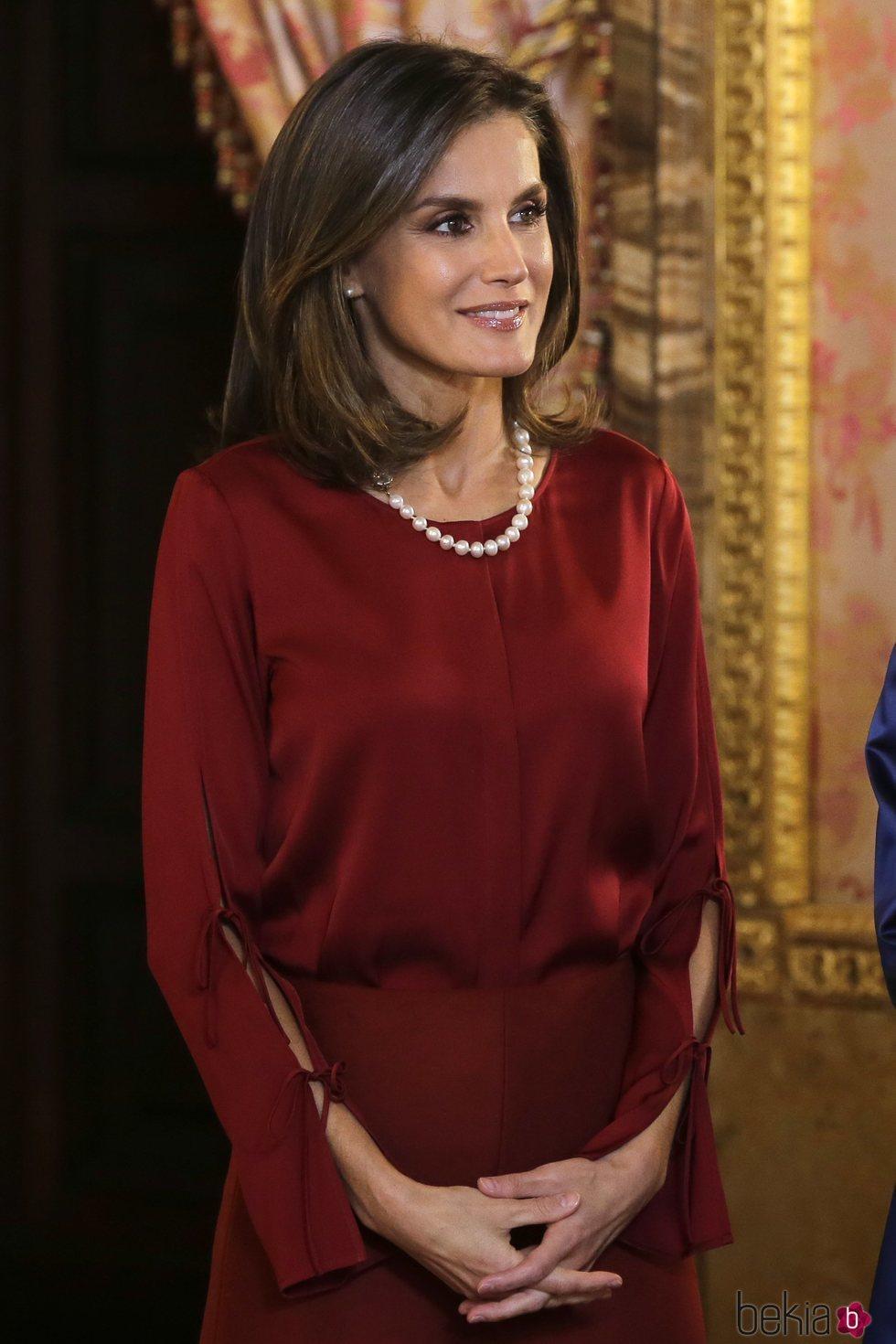 La Reina Letizia en la recepción ofrecida al Presidente de Alemania en el Palacio Real