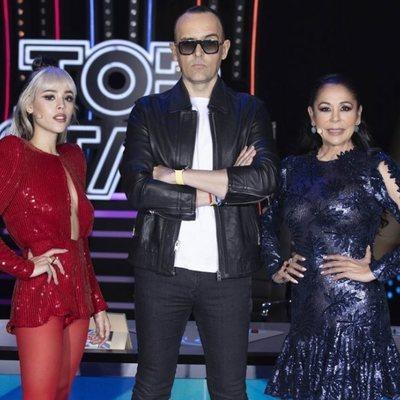 Danna Paola, Risto Mejide e Isabel Pantoja en el primer programa de 'Top Star'