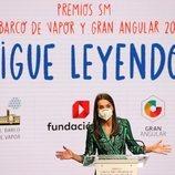 La Reina Letizia dando un discurso en los Premios SM de Literatura Infantil y Juvenil 2021