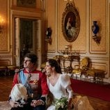Carlos Fitz-James Stuart y Belén Corsini en su boda en el Palacio de Liria