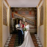 Carlos Fitz-James Stuart y Belén Corsini en una foto oficial de su boda