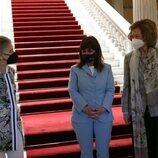 La Presidenta de Grecia con la Reina Sofía e Irene de Grecia en el Palacio Presidencial de Atenas