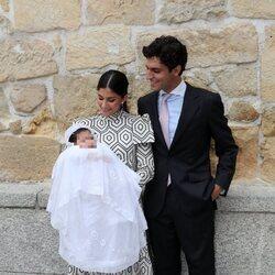 María García de Jaime y Tomás Páramo en el bautizo de su hija Catalina
