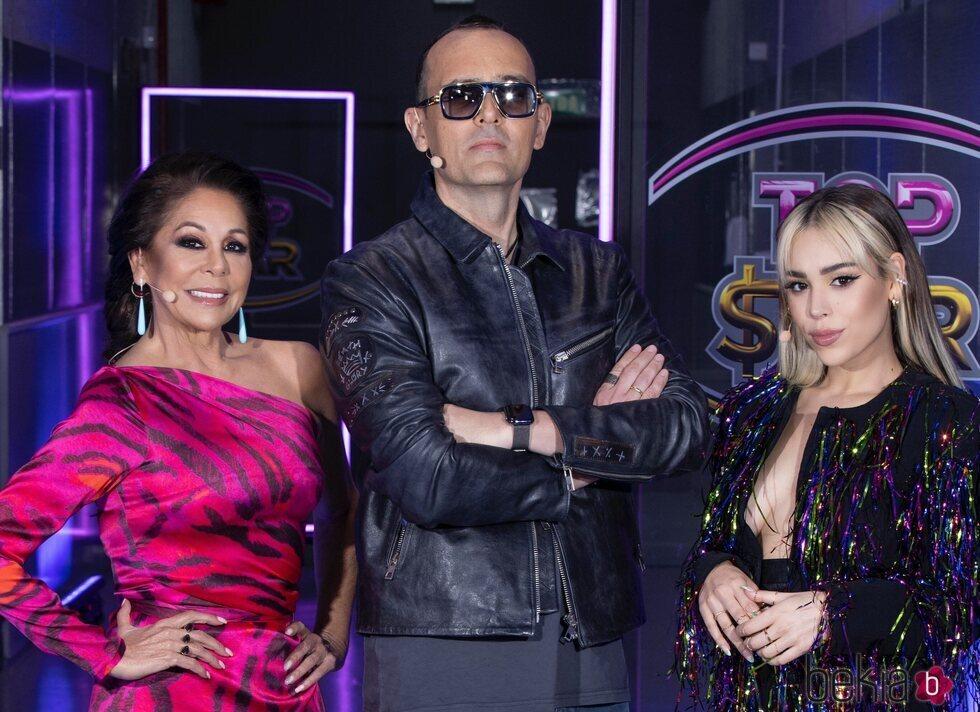 Isabel Pantoja, Risto Mejide y Danna Paola en el cuarto programa de 'Top Star'