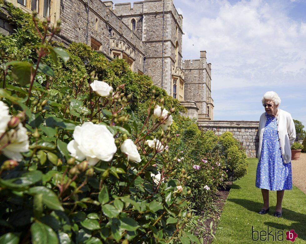 La Reina Isabel en los jardines de Windsor Castle en el homenaje al Duque de Edimburgo por el que hubiera sido su centenario
