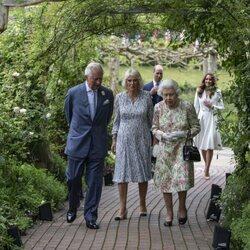 La Reina Isabel, el Príncipe Carlos, Camilla Parker, el Príncipe Guillermo y Kate Middleton en la Cumbre del G7