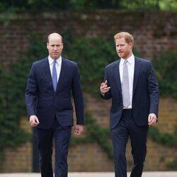 El Príncipe Harry hablando con el Príncipe Guillermo en la inauguración la estatua de Lady Di en Kensington Palace