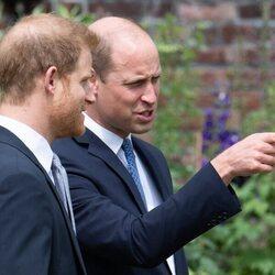Los Príncipes Guillermo y Harry hablando en la inauguración de la estatua de Lady Di en Kensington Palace
